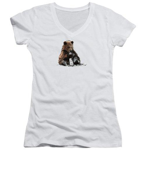 Bear Loves Ny Women's V-Neck T-Shirt (Junior Cut) by Devlin