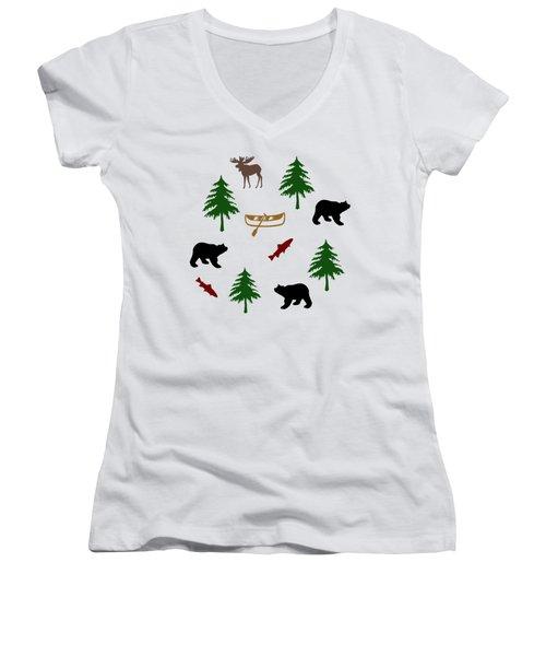Bear Moose Pattern Women's V-Neck (Athletic Fit)