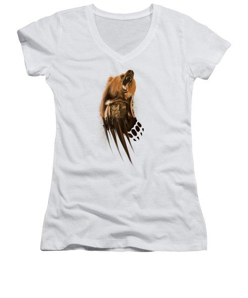 Bear Spirit  Women's V-Neck T-Shirt