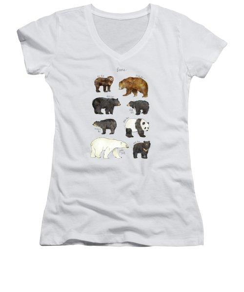Bears Women's V-Neck T-Shirt (Junior Cut) by Amy Hamilton