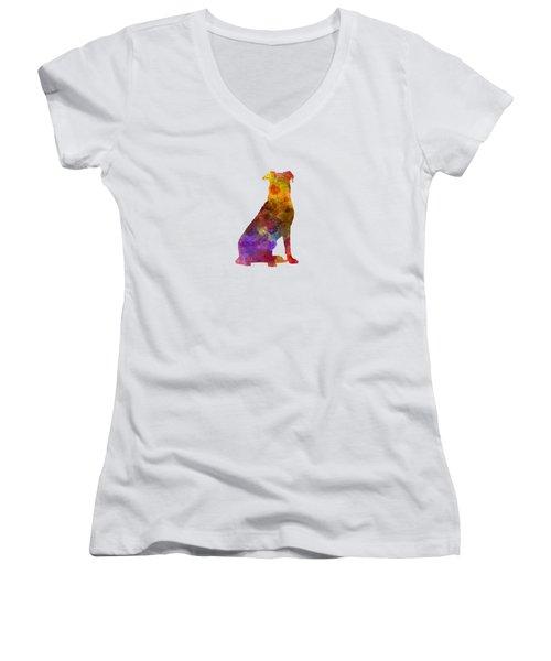 Beauceron In Watercolor Women's V-Neck T-Shirt (Junior Cut) by Pablo Romero