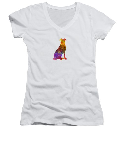 Beauceron In Watercolor Women's V-Neck (Athletic Fit)