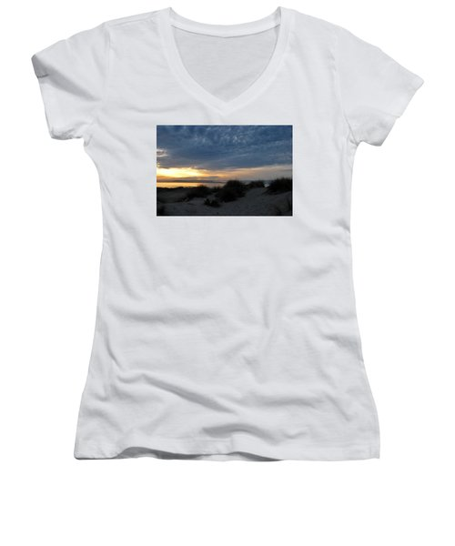 Beautiful Beach San Dunes Sunset And Clouds Women's V-Neck (Athletic Fit)