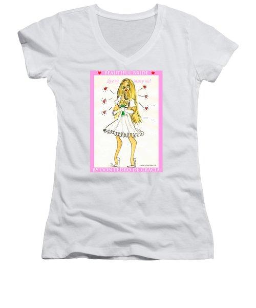 Beautiful Bride Women's V-Neck T-Shirt (Junior Cut) by Don Pedro De Gracia