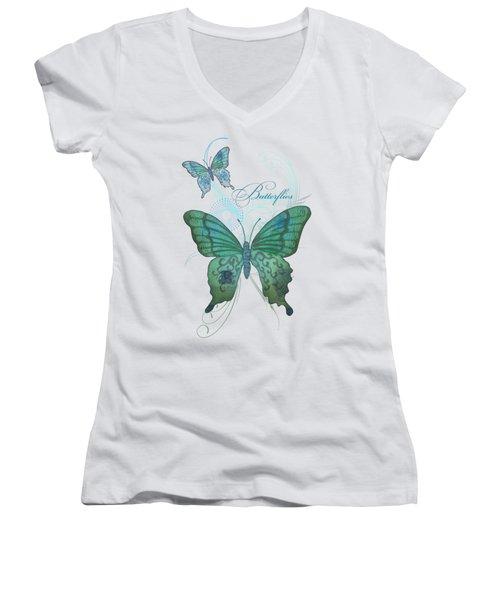 Beautiful Butterflies N Swirls Modern Style Women's V-Neck T-Shirt (Junior Cut) by Audrey Jeanne Roberts