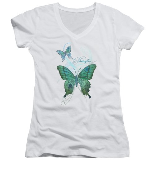 Beautiful Butterflies N Swirls Modern Style Women's V-Neck T-Shirt