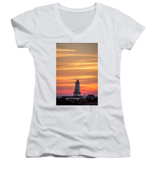 Beautiful Ludington Lighthouse Sunset Women's V-Neck (Athletic Fit)