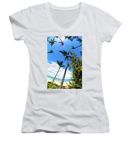 Women's V-Neck T-Shirt (Junior Cut) featuring the photograph Beautiful Palms Of Maui 17 by Micah May