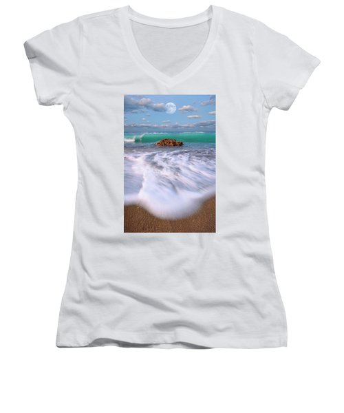 Women's V-Neck T-Shirt (Junior Cut) featuring the photograph Beautiful Waves Under Full Moon At Coral Cove Beach In Jupiter, Florida by Justin Kelefas