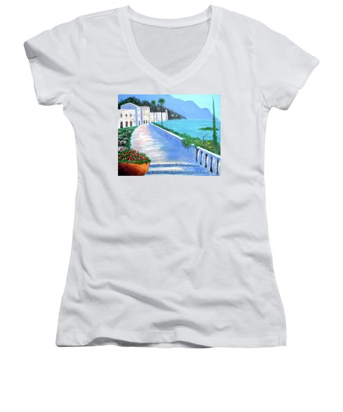 Beauty Of The Riviera Women's V-Neck T-Shirt (Junior Cut) by Larry Cirigliano