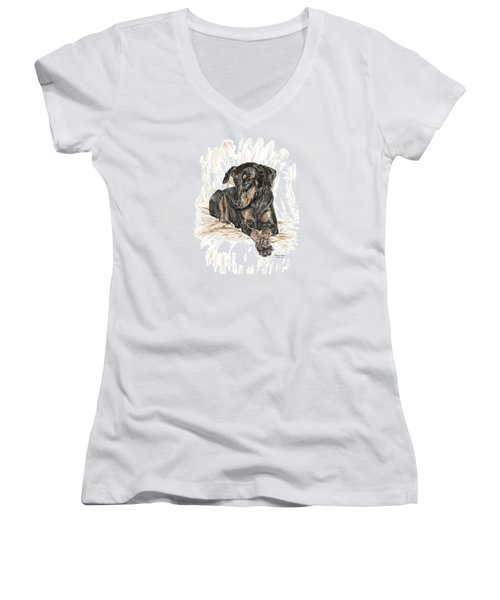 Beauty Pose - Doberman Pinscher Dog With Natural Ears Women's V-Neck (Athletic Fit)