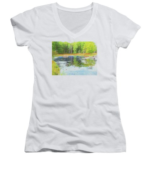 Beaver Pond Reflections Women's V-Neck (Athletic Fit)