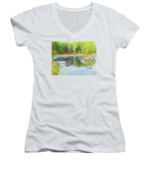 Beaver Pond Reflections Women's V-Neck