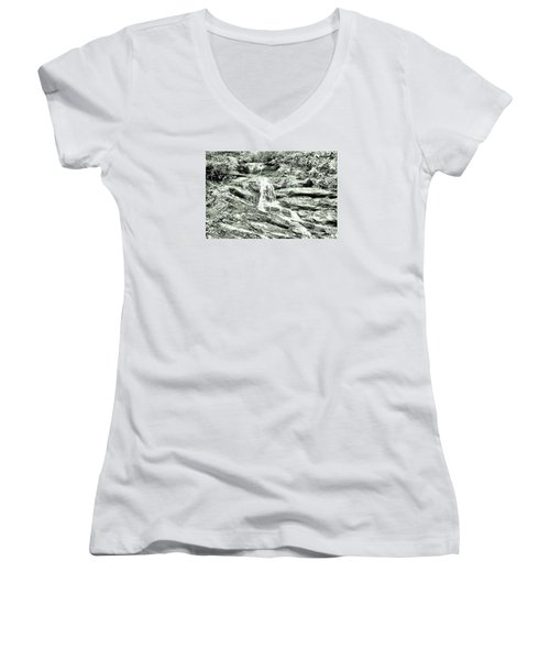 Becky Branch Falls In Green Monochrome Women's V-Neck T-Shirt (Junior Cut) by James Potts