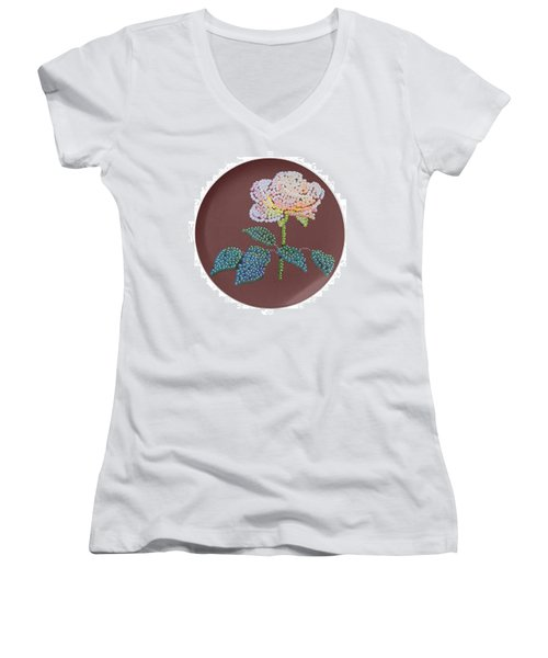 Bedazzed Rose Plate Women's V-Neck T-Shirt (Junior Cut) by R  Allen Swezey