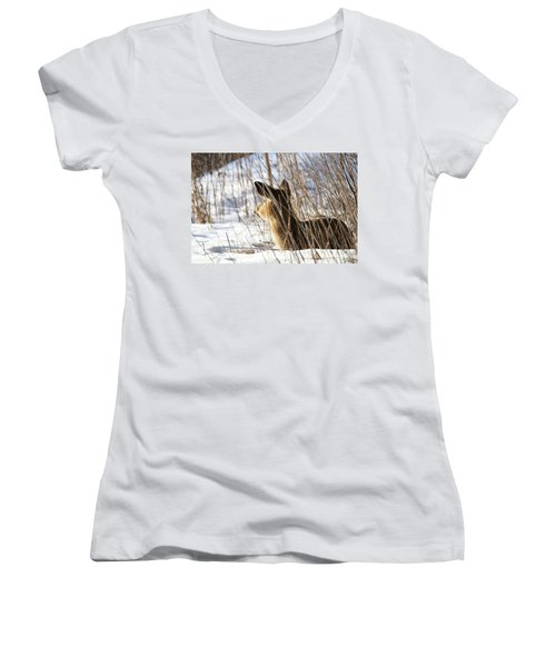 Bedded Fawn 2 Women's V-Neck (Athletic Fit)