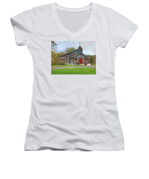 Bedford Village Church Women's V-Neck T-Shirt (Junior Cut) by Sharon Batdorf