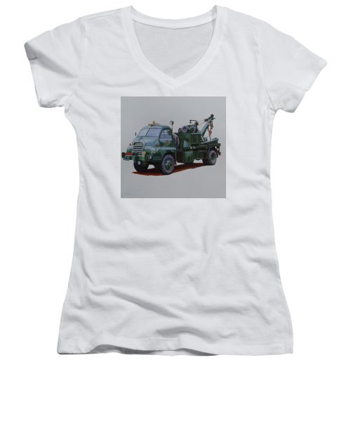 Women's V-Neck T-Shirt (Junior Cut) featuring the painting Bedford Wrecker Afs by Mike Jeffries