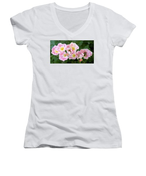Bee And Roses Women's V-Neck