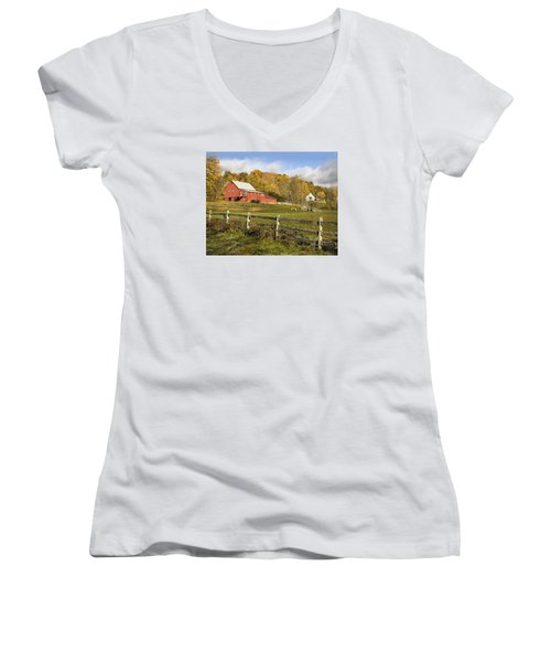 Women's V-Neck T-Shirt (Junior Cut) featuring the photograph Bee Hive Farm, West Windsor, Vt by Betty Denise