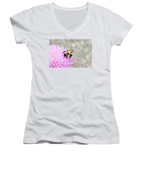 Women's V-Neck T-Shirt (Junior Cut) featuring the photograph Bee On Pink Bull Thistle by Meta Gatschenberger