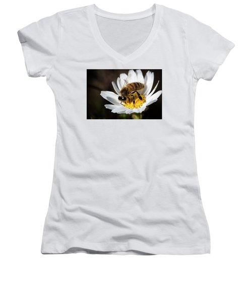 Women's V-Neck T-Shirt (Junior Cut) featuring the photograph Bee On The Flower by Bruno Spagnolo