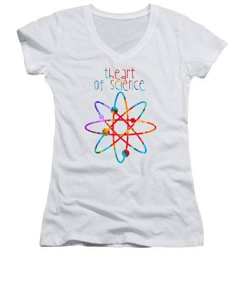 Women's V-Neck T-Shirt (Junior Cut) featuring the painting Beginnings Abstract by Nikki Marie Smith