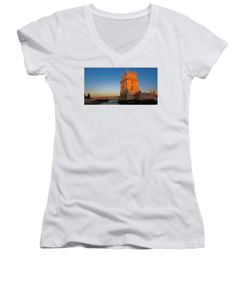 Belem Tower And The Moon Women's V-Neck T-Shirt