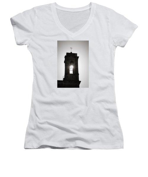 Bell Burst Women's V-Neck T-Shirt (Junior Cut) by Deborah Scannell