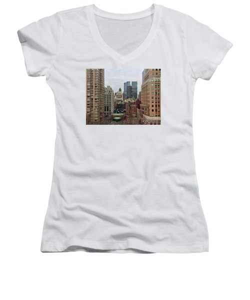 Belvedere Hotel New York City  Room With A View Women's V-Neck T-Shirt