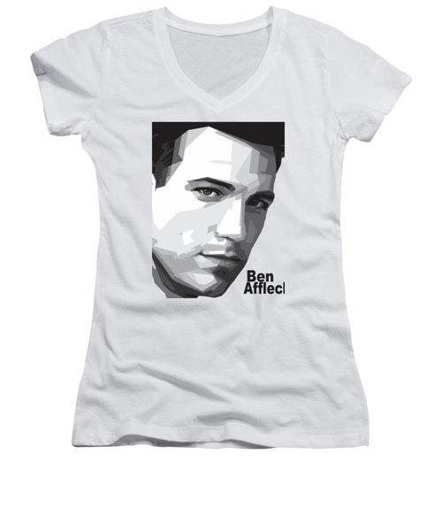 Ben Affleck Portrait Art Women's V-Neck T-Shirt