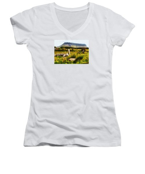 Women's V-Neck T-Shirt (Junior Cut) featuring the digital art Benbulben Sligo by Charmaine Zoe