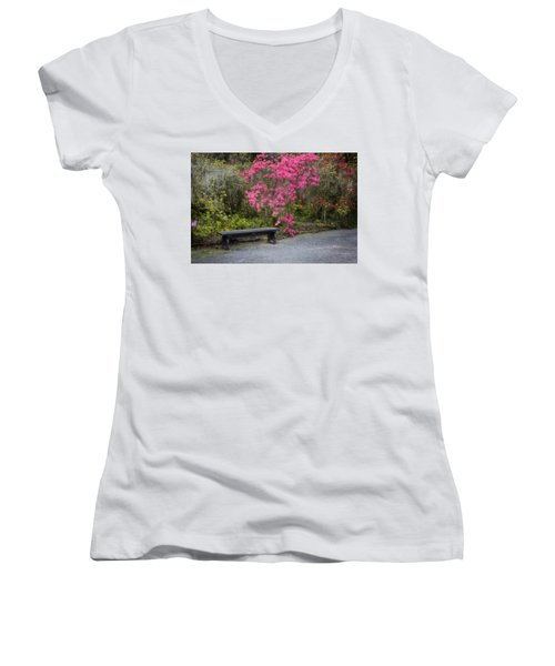 Bench In Azalea Garden Women's V-Neck