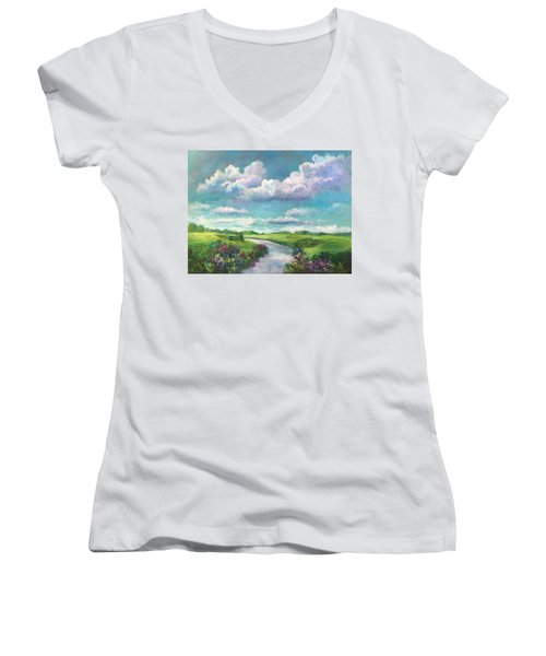 Beneath The Clouds Of Paradise Women's V-Neck T-Shirt (Junior Cut) by Randy Burns