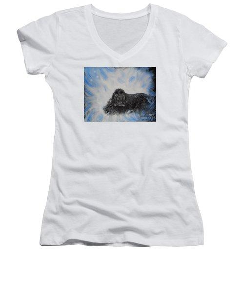 Bennies Love Women's V-Neck T-Shirt (Junior Cut) by Lisa Rose Musselwhite