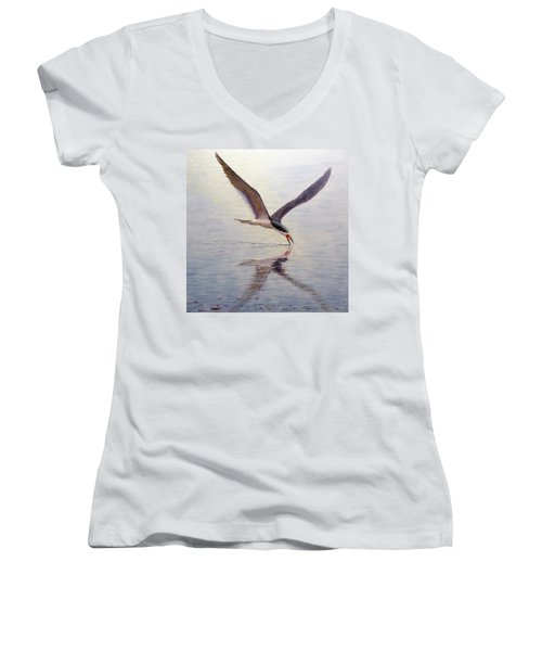 Black Skimmer Women's V-Neck T-Shirt (Junior Cut) by Joe Bergholm