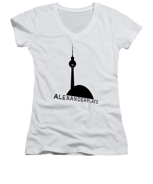 Berlin Alexanderplatz Women's V-Neck T-Shirt (Junior Cut) by Julie Woodhouse