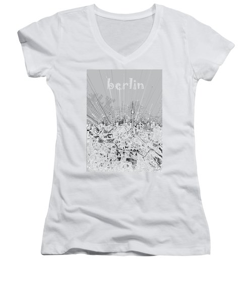 Berlin City Skyline Map 2 Women's V-Neck T-Shirt (Junior Cut) by Bekim Art