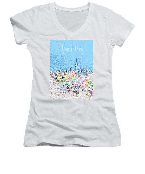Berlin City Skyline Map Women's V-Neck T-Shirt (Junior Cut) by Bekim Art