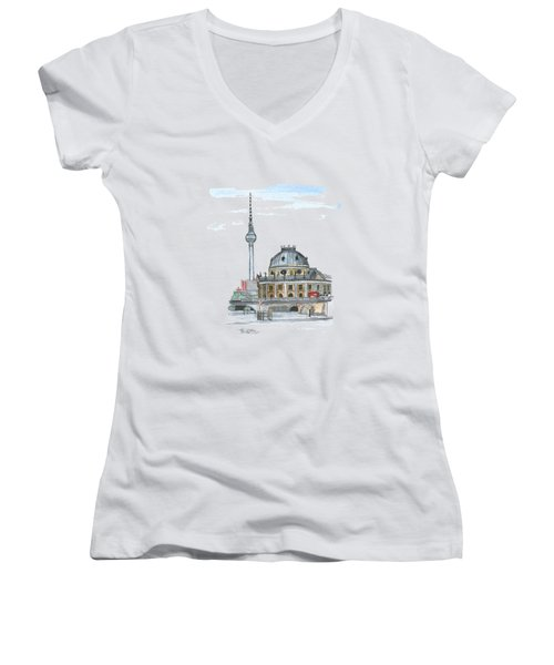 Berlin Fernsehturm Women's V-Neck T-Shirt (Junior Cut) by Petra Stephens