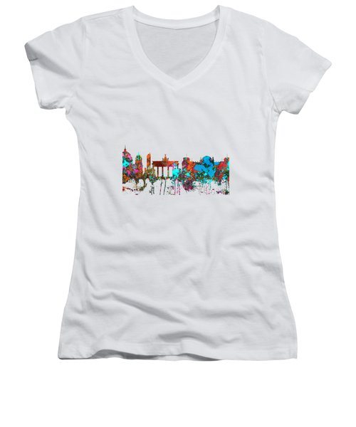 Berlin Germany Skyline  Women's V-Neck T-Shirt (Junior Cut) by Marlene Watson