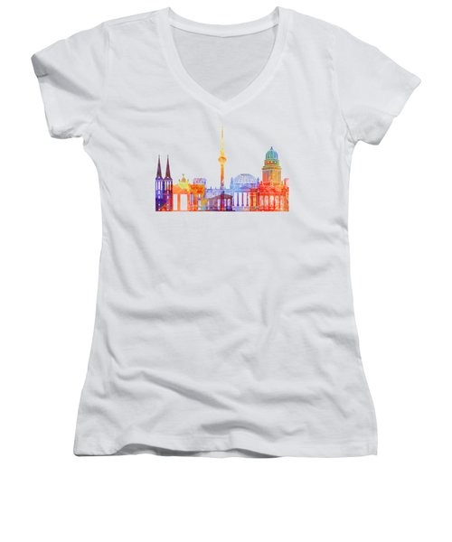 Berlin Landmarks Watercolor Poster Women's V-Neck T-Shirt (Junior Cut) by Pablo Romero