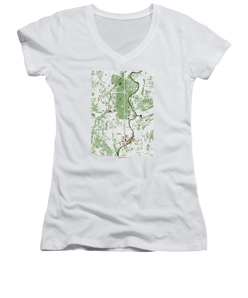Berlin Minimal Map Women's V-Neck T-Shirt (Junior Cut) by Jasone Ayerbe- Javier R Recco