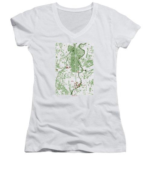 Berlin Minimal Map Women's V-Neck T-Shirt
