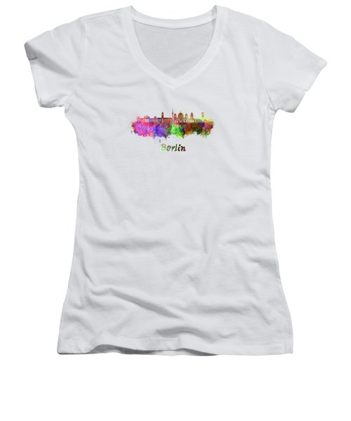 Berlin V2 Skyline In Watercolor Women's V-Neck T-Shirt (Junior Cut) by Pablo Romero