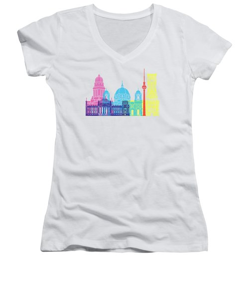 Berlin V2 Skyline Pop Women's V-Neck T-Shirt (Junior Cut) by Pablo Romero
