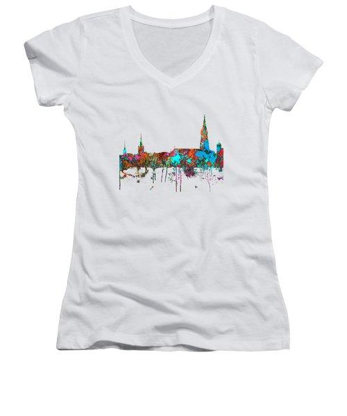 Berne Switzerland Skyline Women's V-Neck T-Shirt (Junior Cut) by Marlene Watson