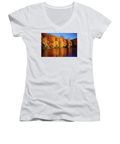 Bernharts Dam Fall 008 Women's V-Neck (Athletic Fit)
