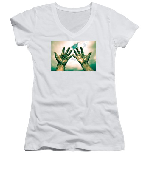 Beseeching Hands Women's V-Neck (Athletic Fit)