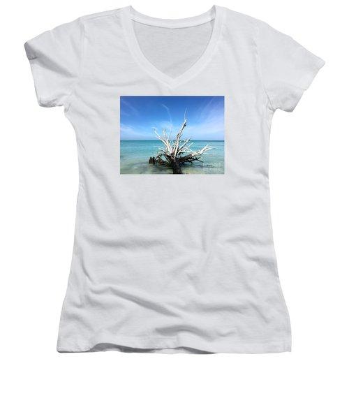 Beside Still Waters Women's V-Neck T-Shirt (Junior Cut) by Margie Amberge